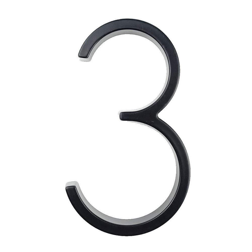 WenJ 12cm Grande 3D Moderno De La Casa De La Puerta N/úmero Home N/úmeros De Direcci/ón For La Puerta Exterior N/úmero C/ámara Digital Sign Placas De 5 Pulgadas. Color : Black, Size : Number 0