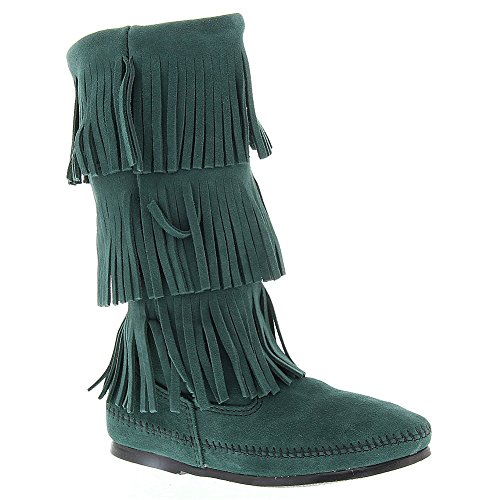 Minnetonka Damen 3-Lagen Fringe Boot Kiefer Wildleder