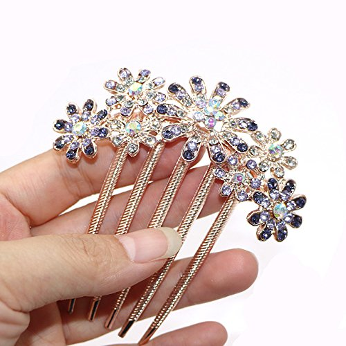 Hair Jewelry Charitable Headwear Hair Accessories Hairpins Beautiful Crystal Rhinestone Petal Hair Comb Flower Pin Hair Clip Claws Hairdressing Stylists Selected Material