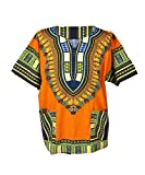 Lofbaz Traditional African Print Unisex Dashiki Size XXL Orange
