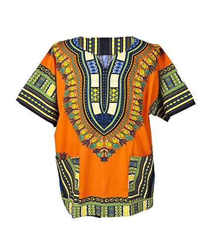 Lofbaz Traditional African Print Unisex Dashiki Size XXL Orange by Lofbaz