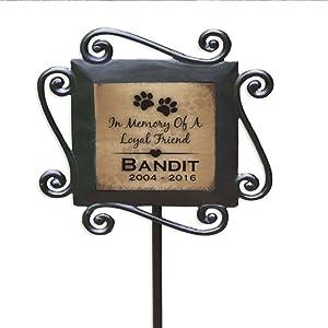 GiftsForYouNow Loyal Friend Personalized Pet Memorial Garden Stake, Wrought Iron