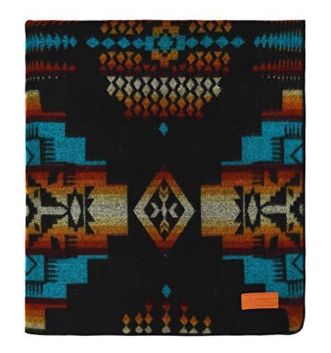 Andes Cruz Charcoal Ecuadane Large Winter Woven Blanket, Handmade in Ecuador by Local Artisans, Size 82  x 93  - colorado Ski bluee Pattern