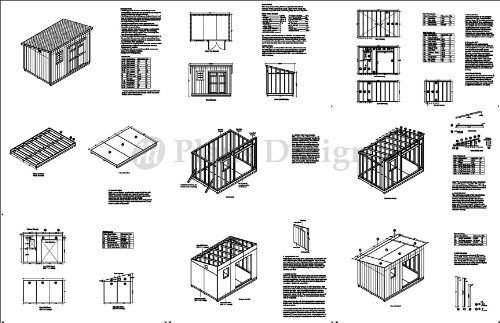 8' x 12' Deluxe Back Yard Storage Shed Project Plans, Do it yourself, Modern Roof Style Design # D0812M