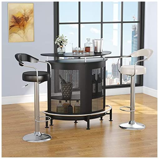 Home Bar Cabinetry Tribesigns Bar Unit with Metal Mesh Front, Home Liquor Bar Table with Storage and Footrest (Black) home bar cabinetry