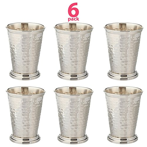 Set of 6 Hammered Mint Julep Cup Kentucky Derby - Nickel Plated - 12 oz