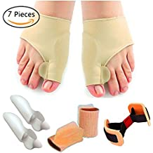 Bunion Relief Protector Sleeves Kit- Bunion Corrector, Toe Separators and Spreaders for Hammer Toe, Toe Separators Spacers Straighteners splint Aid surgery treatment (7 Pcs)