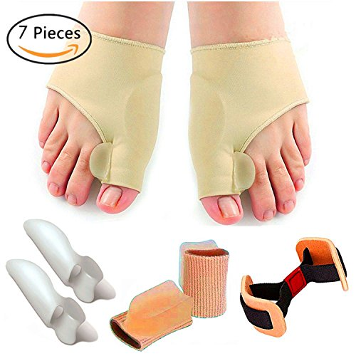 Bunion Relief Protector Sleeves Kit- Bunion Corrector, Toe Separators and Spreaders for Hammer Toe, Toe Separators Spacers Straighteners splint Aid surgery treatment (7 Pcs) - Spacer Sleeve
