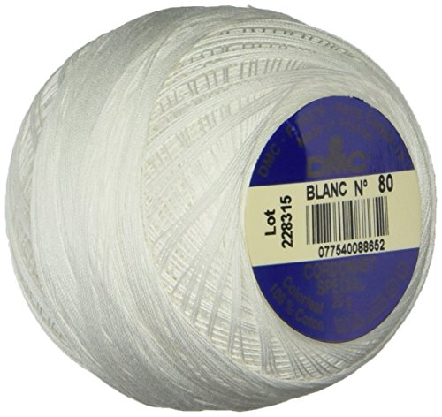 DMC 151 80-BLANC Cordonnet Cotton, White, 398-Yard, Size 80