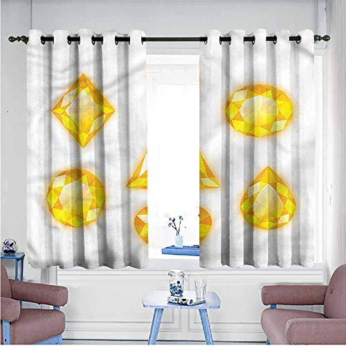 VIVIDX Waterproof Window Curtains,Diamonds,Marquise Hearts and Pear,Space Decorations,W63x72L