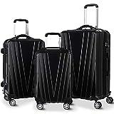Goplus 3PCS Luggage Set Expandable Travel Suitcase Hardside Carryon Luggage Set w/TSA Lock, Weighting Handle (20/24/28) (Black)