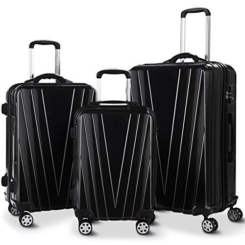 86 Set Conversion (Goplus 3PCS Luggage Set Expandable Travel Suitcase Hardside Carryon Luggage Set w/TSA Lock, Weighting Handle (20/24/28) (Black))