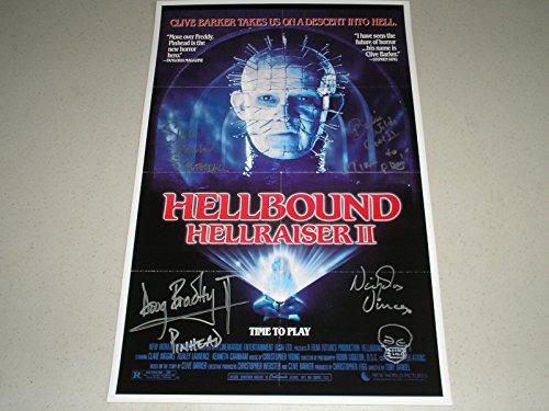 4X Signed Hellraiser 2 Cenobites 11x17 Poster Doug Bradley Nicholas Vince Simon Bamford Barbie Wilde Autographed (V) (Hellraiser Autographed Poster)