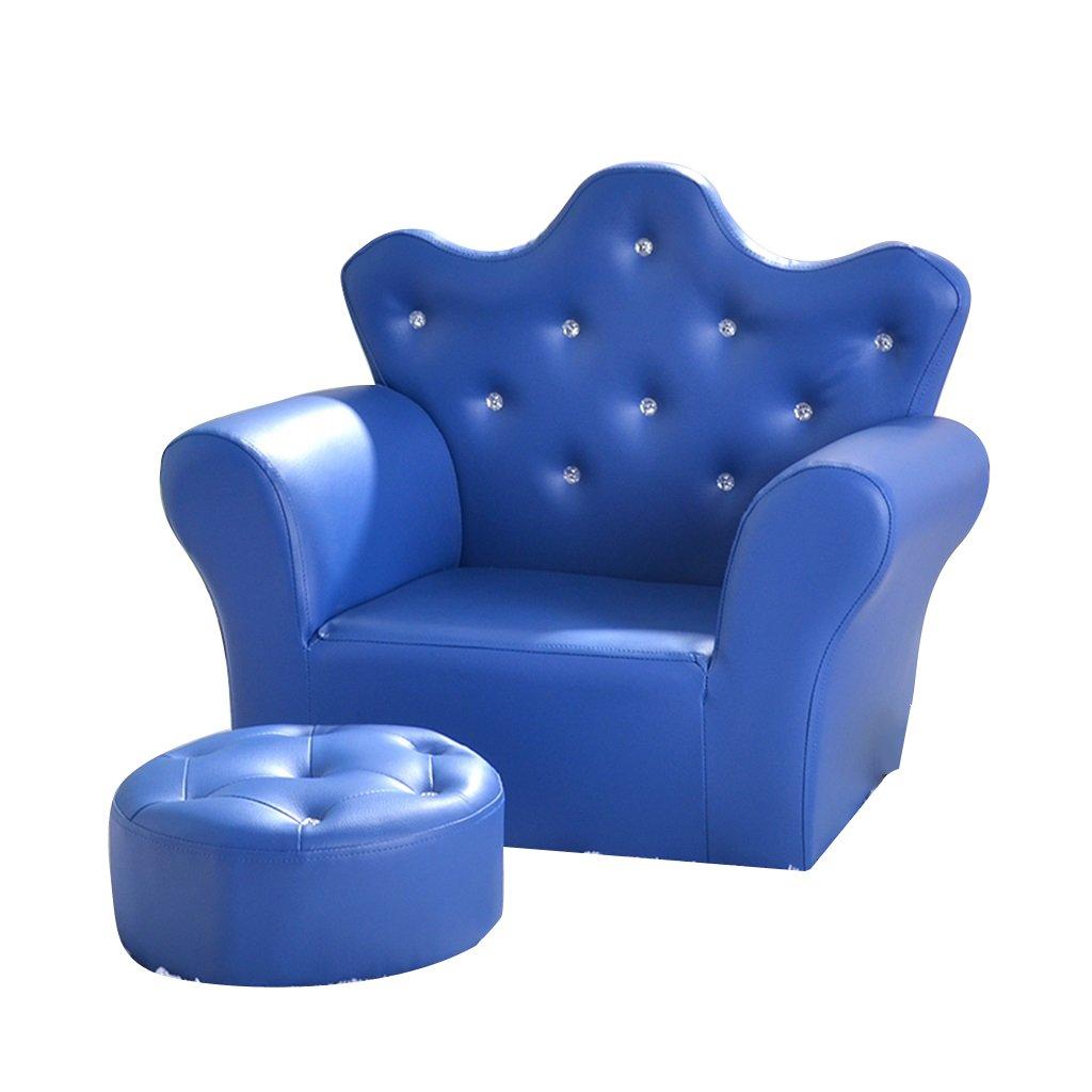 ALUK- small stool Cartoon Holzrahmen Sofa Hocker Spiel Stuhl Kindergarten Sessel Cute Crown Mini Stuhl Blau
