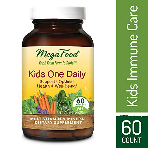 MegaFood - Kids One Daily, Multivitamin Support for Healthy Growth and Development without Artificial Sweeteners or Food Coloring, Vegetarian, Gluten-Free, Non-GMO, 60 Mini-Tablets