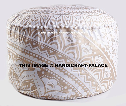 OMBRE MANDALA ROUND FLOOR OTTOMAN POUF GOLD COLORED PILLOW COVER INDIAN DECOR by Handicraft-Palace