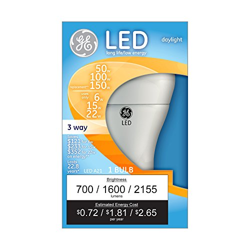 GE Lighting 92120 3-Way LED 50/100/150-watt replacement A21 Bulb with Medium Base, Daylight, 1-Pack (Bulb Base A21 Medium 150w)