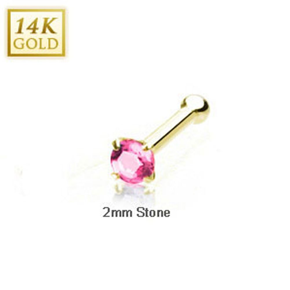 Crazy2Shop 14 Karat Solid Yellow Gold 2mm Prong Pink Cz Nose Stud Ring, Thickness: 20 GA