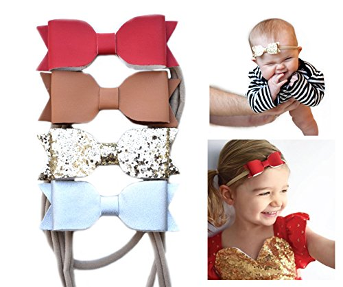 Glitter Faux Leather Bow – Stretch Headbands for Baby Toddler Girls, Set of 4