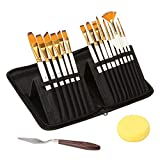 Painting Brush Artist Paint Brush Set – 15 Different Shapes & Sizes – Free Painting Knife & Watercolor Sponge – No Shed Bristles – Wood Handles – for Creative Body Paint, Acrylics & Oil