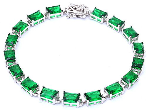 Oxford Diamond Co 17.50ct Radiant Cut Green Emerald .925 Sterling Silver Bracelet 7 1/4