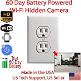 AES Spy Cameras - 60 Day Battery Powered WiFi Power Receptacle Electrical Oulet Hidden Spy Camera (White)