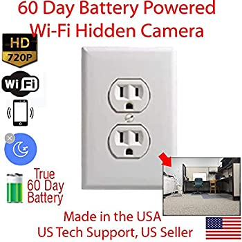 Image of AES Spy Cameras - 60 Day Battery Powered WiFi Power Receptacle Electrical Oulet Hidden Spy Camera (White) Hidden Cameras