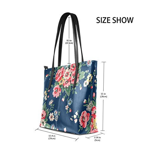 Flower Women's Purses TIZORAX Shoulder Vintage Totes Handle Fashion Floral Leather Handbag Bags Top PU UqwEwtp6x