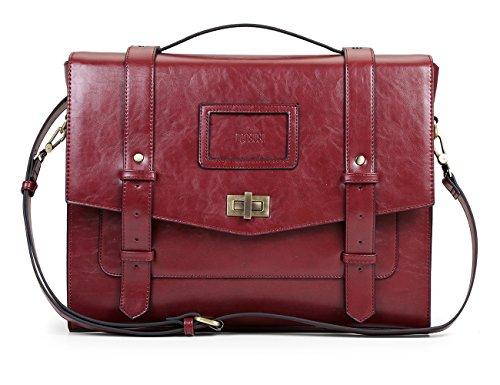 "ECOSUSI Ladies Faux Leather Briefcase Shoulder Laptop Messenger Bags Satchel Bag Cambridge Backpack Fit 14"" Laptop Red"
