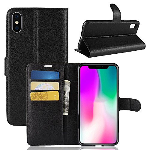 PRODELI iPhone Xs Case, Premium PU Leather iPhone Xs Protective Case Cover Phone Wallet Flip with Magnetic Closure & Card Slots & Stand Function (Black)