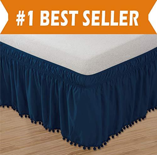 (Celine Linen  Luxury Top-Knot Tassle Pompom Fringe Ruffle Bed Skirt -Wrap Around Style- Elastic Bed Wrap- Wrinkle Resistant 16inch Drop, Twin/Full, Navy Blue)