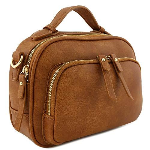 Womens Mini Leather Tan (Top Handle Mini Satchel Bag Crossbody Purse Dark Tan)