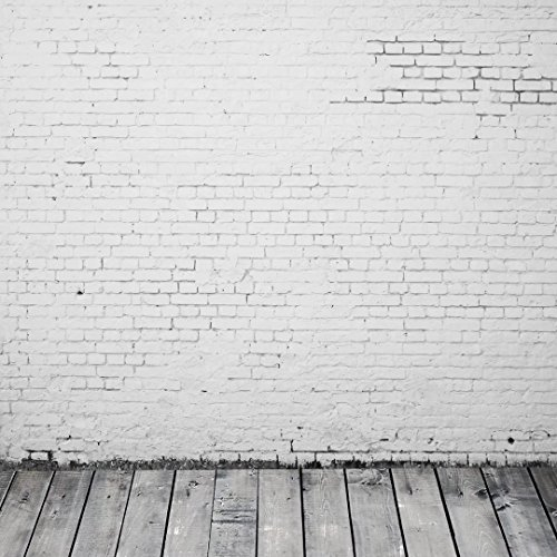 Cheap  10x10 ft White Brick Wall Wood Flooring Backdrops for Photography FT1135T