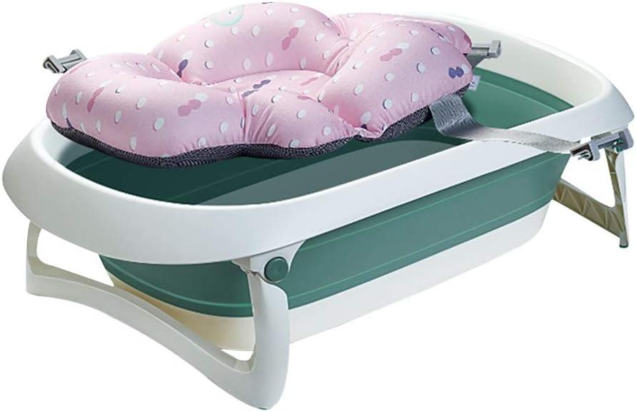 バスタブ 新生児用浴槽 子供用の大きな折りたたみ式浴槽 ベビータブ ポータブルベルト 保存が簡単 80X48X21cm GUOGUO (Color : Green)