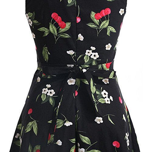 Aecibzo Vintage De Partie Robe De Pique-nique Party Jardin Fleuri De 1950 Robe De Cocktail Swing Cerise Noire