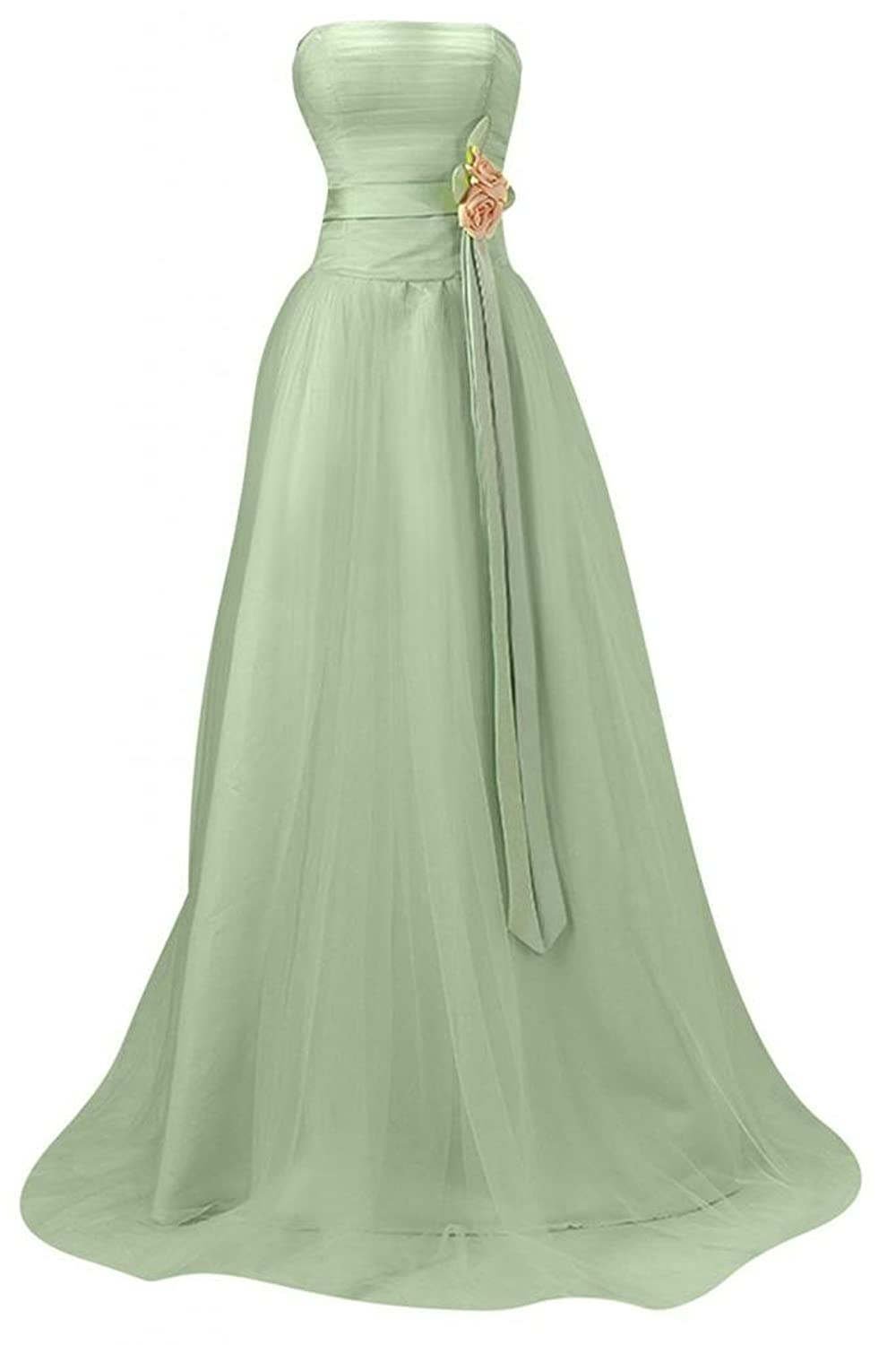 Sunvary Strapless Draped Ruffle Side Zipper Rhinestone Bridesmaid Prom Gowns-10-Sage