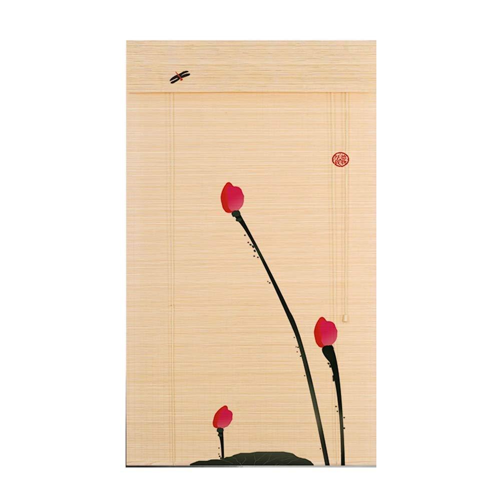 LIANGJUN 竹ロールスクリーン竹はウィンドウシェードを竹すだれ竹製カーテン印刷 カーテンを引く カバーライト 中華風 ティーハウス バックグラウンド パーティション - レストラン (色 : A, サイズ さいず : 100x180cm) B07R9ZT3LQ A 100x180cm