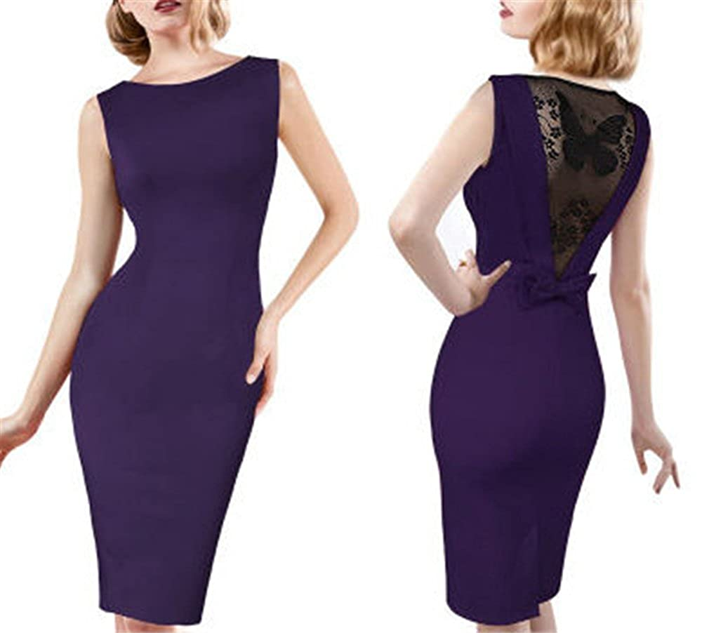 set adil Women Classy Snap Buttons Sleeveless Bodycon Dress Lace Hollowed Out Dress