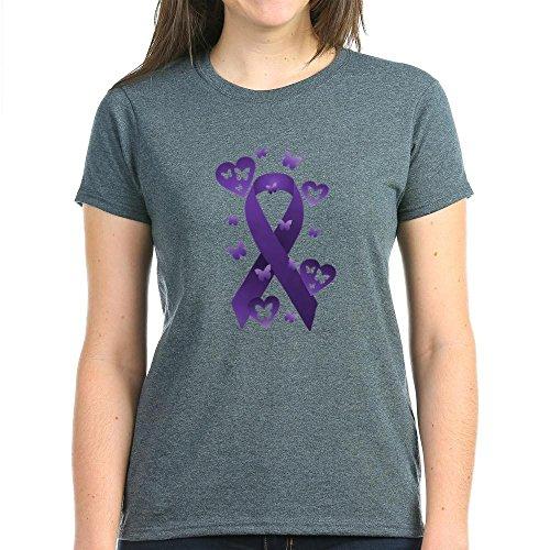 CafePress - Purple Awareness Ribbon T-Shirt - Womens Cotton T-Shirt