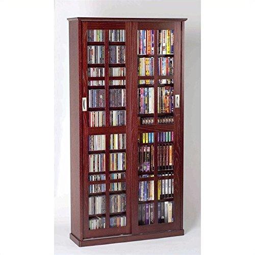 Door Mission Style Media Cabinet - LDE LESLIE DAME Leslie Dame MS-700DC Mission Multimedia DVD/CD Storage Cabinet with Sliding Glass Doors, Cherry