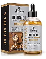 Kanzy Jojobaolja Organisk Kallpressad 100% Ren 120ml Oraffinerad Hexanfri Bärolja Jojoba Oil för Ansikte, Hår, Naglar, Kropps och Hud