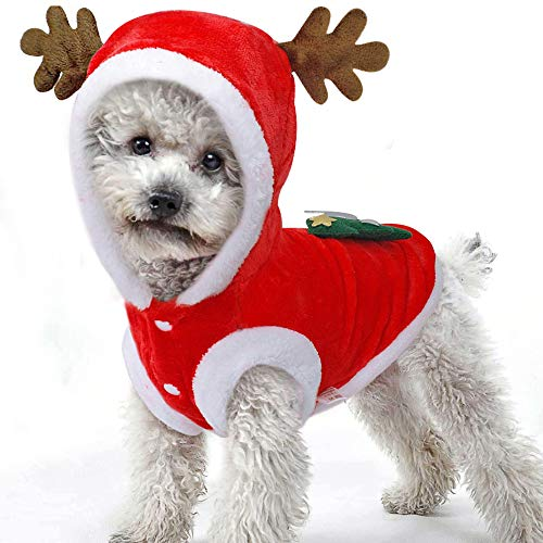 SmileyUS Santa Elk Dog Costume Christmas Pet Hoodie Coat Clothes Dog Pet Clothing Winter Autumn Fit for Puppy Dog Teddy Chihuahua Yorkshire Poodle Maltese Puppy Pug (M) -