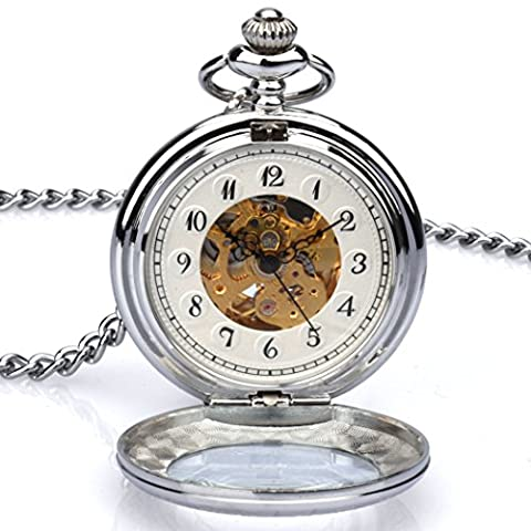 Zeiger New Mens Classic Automatic Mechanical Steampunk Pocket Watch, Stainless Steel Engraved Case Skeleton Roman Design, Pocket Watch with Chain (Mechanical Pocket Watch Engraved)