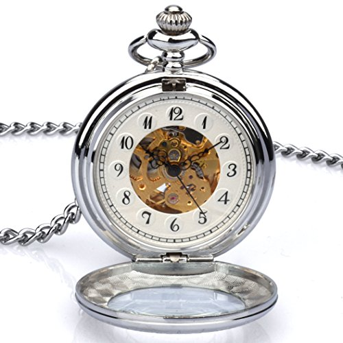 Zeiger New Mens Classic Automatic Mechanical Steampunk Pocket Watch, Stainless Steel Engraved Case Skeleton Roman Design, Pocket Watch with Chain (Silver) (Stainless Silver Pocket Watch Steel)