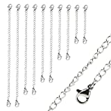 Naler 10pcs Stainless Steel Necklace Bracelet Extender Chain Jewellery - 5 Sizes in Silver Color