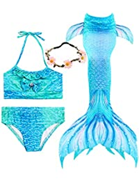 3 Pcs Girls Swimsuit Mermaid Tails for Swimming Princess...
