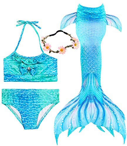 Garlagy 3 Pcs Girls Swimsuit Mermaid Tails for Swimming Princess Bikini Bathing Suit Set Can Add Monofin for 3-12Y (Height 55-60in(10-12Y), A-Blue sea)