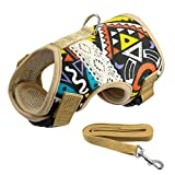 LLOVELYY Soft Printed Dog Harness And Leash Pet Puppy Cat Vest Jacket For Small Medium Dogs Black S
