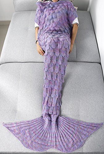 [FEESHOW Knitted Mermaid Tail Blanket Soft Cozy Living Room Bedroom Sofa Couch Sleeping for Adult Children Kids (Lavender, Adult Size)] (The Big Comfy Couch Costume)