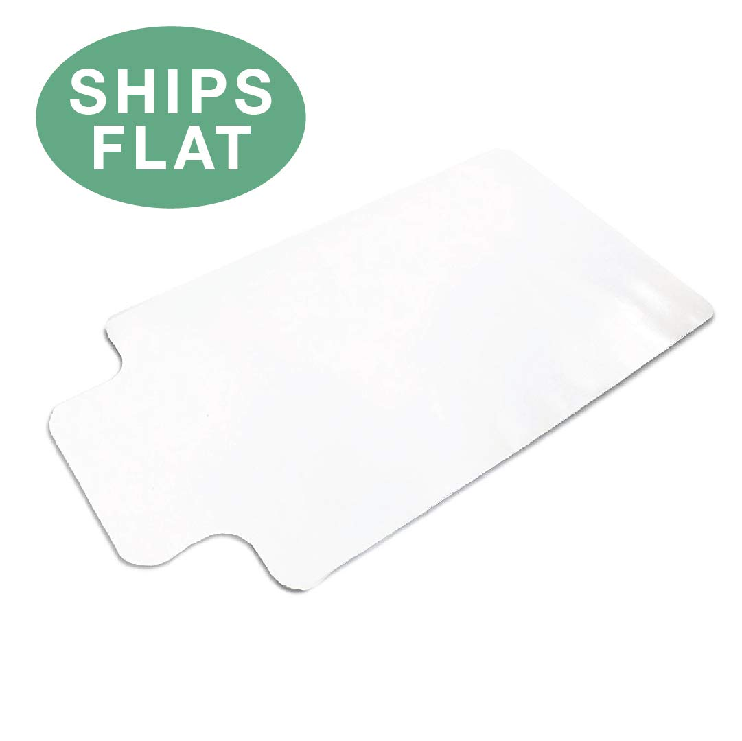 Office Chair Mat with Lip for Hard Floors 48 x 36 - Clear Hardwood Mat for Desk Chairs - Ships Flat by Ilyapa (Image #1)